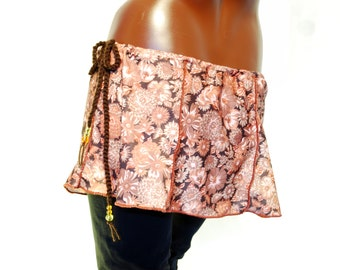Brown mini skirt, floral boho retro elven
