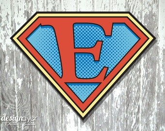 "Superhero Initial ""E"" Sign Large 26""X20"" DIY Printable Instant Download"