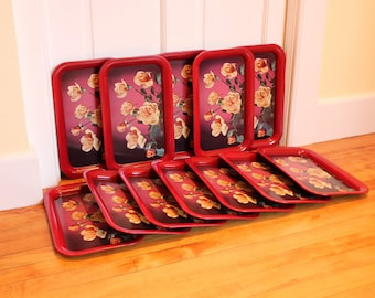 Coming Up Roses ... Set of 12 Vintage Metal Serving / Snack Trays - Red with Yellow Roses