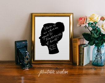 Jane Austen quote print art wall art printable wall decor print inspirational quote jane austen silhouette art digital Printable Wisdom