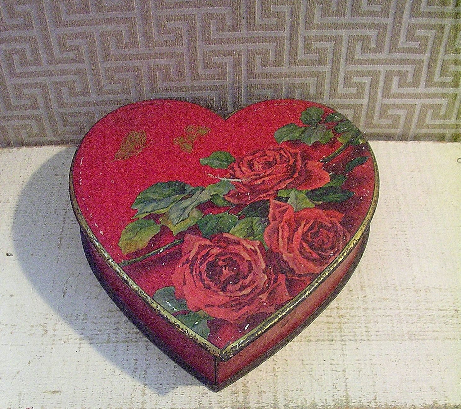Gorgeous Heart Shaped Antique Tin Box Vintage Red By