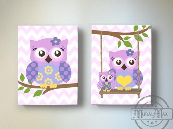 Purple Owl Nursery Decor Owl Canvas Art Baby Girl Nursery