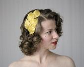 "Gold Leaf Headband, Leaves Headpiece, Fall Fascinator, Autumn Headband Adult, Lamé Hairpiece, Metallic Hair Accessory 1950s - ""Golden Dew"""