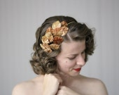 "Leaves Hair Accessory, Brown Gold Headband, Fall Fascinator, Autumn Leaf Headpiece, 1950s  - ""Spiced Cider"""
