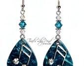Blue Guitar Pick Jewelry - Guitar pick earring, aqua blue earrings, music jewelry, music note jewelry, teal suicide awareness