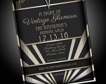 Vintage Glamour Invitation, Speakeasy, 1920, Roaring 20s, Roaring Twenties, Great Gatsby, Hollywood, Party - Digital File
