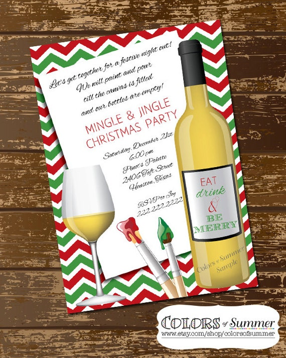 Christmas paint wine party invitation holiday party girls for Wine paint party