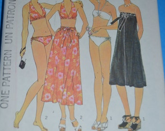 Vintage Simplicity 7490 Misses  Bikini Skirt or Cover Up Sewing Pattern - UNCUT -  Size 6 & 8  or Size 10 or Size 12