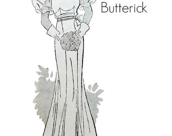 Vintage 1930's Bridal Evening Dress Sewing Pattern Size 16 Bust 34 Three Lengths Bell Style Sleeves Butterick 5040 Non Printed Complete
