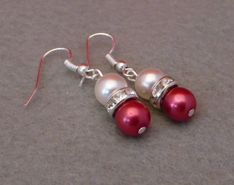 Raspberry red and white pearl earrings