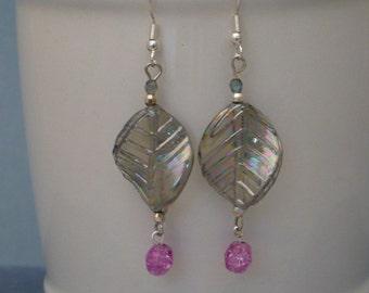 Iridescent leaf earring