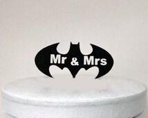 Wedding Cake Topper - Batman Symbol and Mr & Mrs