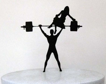 Wedding Cake Topper - Your Man is Strong! Weightlifting Groom silhouette