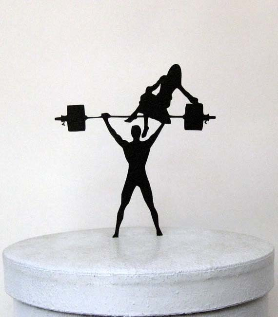 Wedding Cake Topper Your Man Is Strong Weightlifting Groom