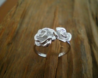Silver rose ring,double rose ring