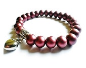 50% Discount SALE, Purple Lustre Bead and Silver Heart Pendant Stretch Bracelet- Handmade Jewellery
