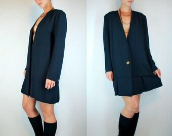 Vintage 80s does 20s Drop Waist Long Sleeve Mini Dress w/ Pleated Skirt. Black Plunging V Minimalist Retro Tuxedo Shift. Extra Small - Small