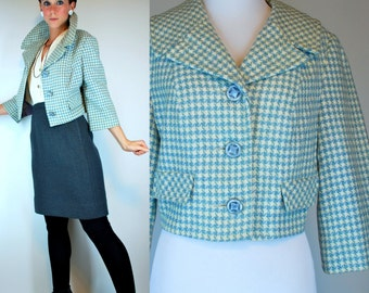 Vintage 50s Wool Swing Coat. Cream Blue Mod Herringbone Cropped Mini Dress Jacket w/ Avant Garde Shawl Collar. Extra Small - Small