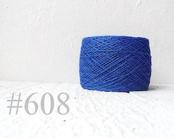 blue color linen thread, linen flax # 608