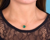 Gold Emerald Necklace, May Birthstone necklace, Bridesmaid necklace, Green emerald pendant, Gold necklace, Stone necklace | Phasis