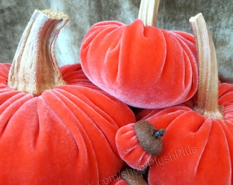 Velvet PUMPKINS & Velvet ACORNS - Real Pumpkin Stems and Real Acorn Caps - Bright Coral