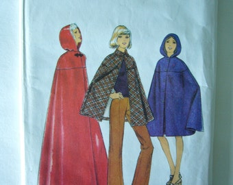 Vintage 1970's STYLE Sewing Pattern 3859 CAPE in 3 LENGTHS  Size 12 Bust 34