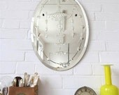 Vintage Oval Art Deco Bevelled Edge Wall Mirror Engraved Pattern