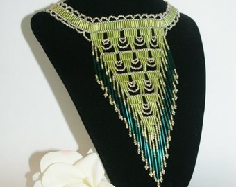 Native American Beaded Necklace, Green, Gold, Emerald Green, Native Inspired