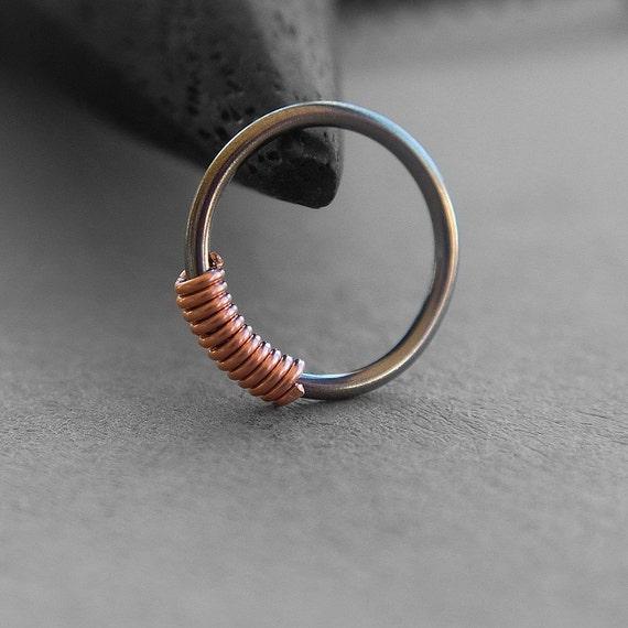 One 1 20 Gauge Niobium Nose Ring Copper Coil Dark Grey