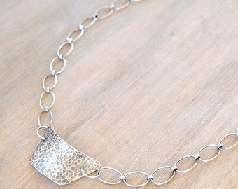 Geometric, hammered silver statement necklace with an oxidized finish - Joan Necklace