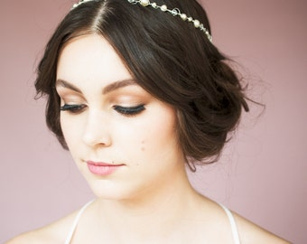 CHRISTIE Crystal & Pearl Halo, Silver Halo, Wedding Crown, Crystal Crown, Crystal Halo, Wedding Headpiece, Floral Crown, As Seen on REIGN