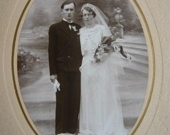 Wedding oval photography black and white made in Normandy Bayeux France circa 1930 souvenir memorabilia art and collectibles vintage retro
