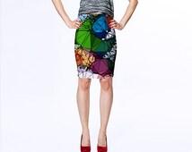 Stained Glass Design Skirt, Modern Art Skirt, Green Blue and Fuschia Skirt, Fitted Skirt