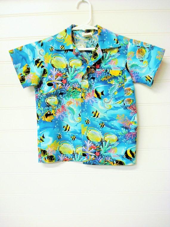 Vintage boys clothes vintage hawaiian shirt blue hawaiian for Fish hawaiian shirt