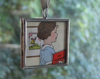 Reading Girl Pendant Book Lover Pendant Teacher Necklace Librarian Pendant Strong Girl Pendant