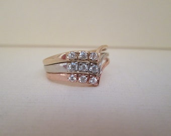 Trinity 14K Gold and CZ Ring