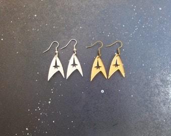 Star Trek Enterprise Starfleet Command Insignia Logo Earrings in Gold OR Silver Hypoallergenic Option
