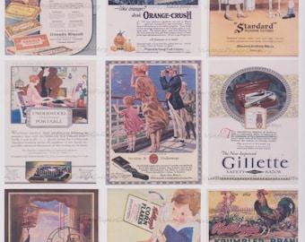 VINTAGE ADS-DOWNLOAD Digital Collage Sheet 9 Printable Images - Scrapbooking - Gift Tags - Magnets - Cards