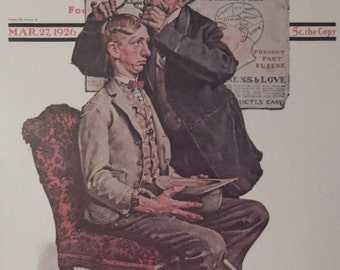 THE PHRENOLOGIST Norman Rockwell Reproduction Print Christmas Present Gift 1923 The Saturday Evening Post Bookplate Ready To Frame