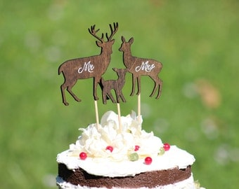 Deer Family Wedding Cake Topper - Family Cake Topper - Deer - Rustic Country Chic Wedding