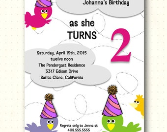 Children's Birthday Party Invitations, kids, 1st, 2nd, 3rd, 4th, 5th, children, girl, boy, birds, digital, printable, invite K1021
