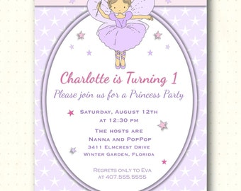 Children's Birthday Party Invitation, 1st, 2nd, 3rd, princess party, girl, fairy, purple, pink, digital, printable, invite,  KB1403