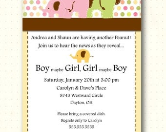 Gender Reveal Party Invitation, elephant, baby, shower, digital, printable, invite GR1436