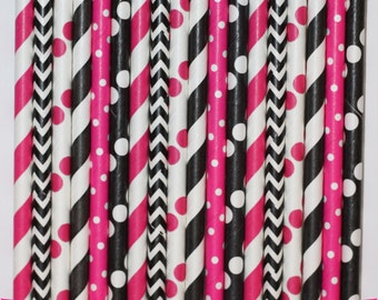 50 Minnie Mouse Hot Pink Paper Straw Mix  PAPER STRAWS birthday party bridal shower event cake pop sticks