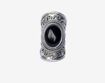 Statement Sterling Silver Onyx Ring, Handcrafted Large Natural Gemstone Ring, Boho Rings, Gypsy Style Ring, Engraving, Personalized
