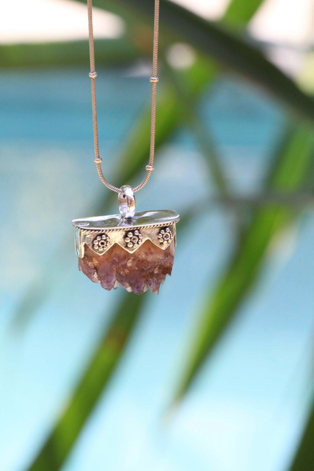 Raw Amethyst Crystal Necklace Sterling Silver by DonBiuSilver