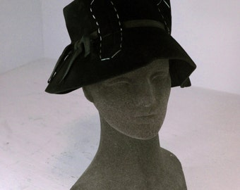 Vintage Mod Floppy Boho Bohemian Dark Brown Luxuria Sueded Felt Betmar Hippie Hat