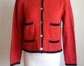 60s Mad Men Jacket / Vintage Jackie O Cardigan / 1960s Red Jacket