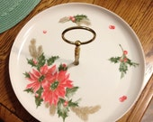 Vintage Melmac Florence Prolon Christmas Poinsettia Serving Plate Dish with Handle 1960's Holiday Serving Plate TREASURY ITEM