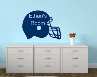 Football Helmet Wall Decal, Personalized Kid's Room Decal, Kids Room Decor, Wall Art